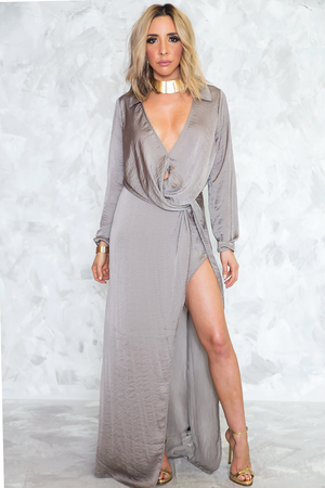 Not Affraid Anymore Satin Knot Maxi Dress - Haute & Rebellious