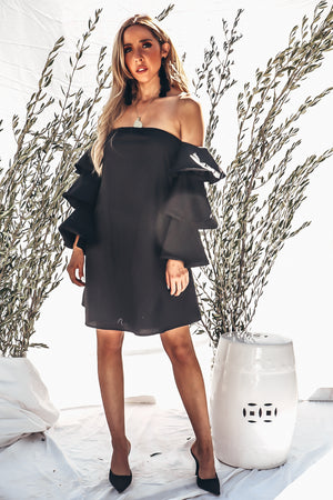 Talk About It Tiered Sleeve Dress - Black