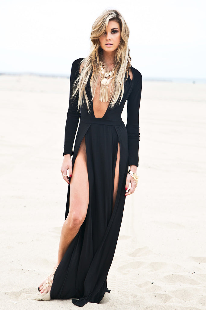 Raya High Slit Deep V Maxi Dress Black