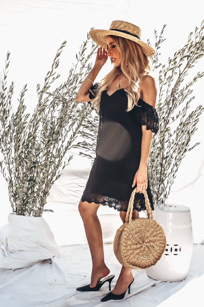 Off-Shoulder Crochet Dress - Black