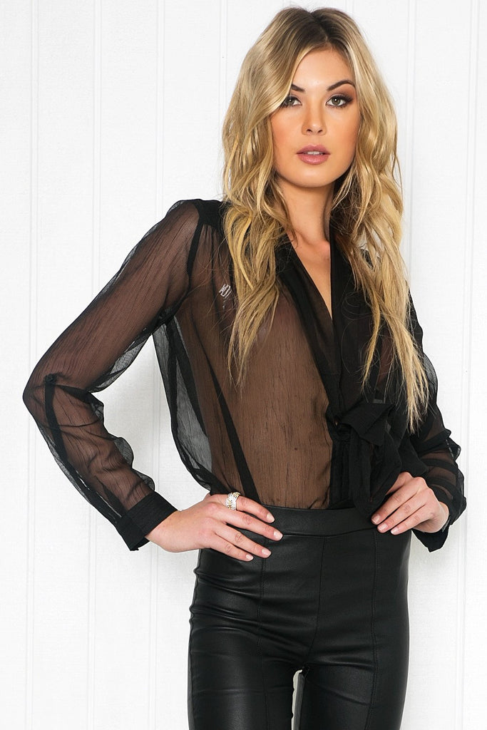 Mollin Sheer Blouse - Black