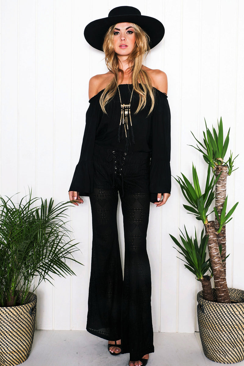 Stacie Bell Bottom Pants - Black - Haute & Rebellious