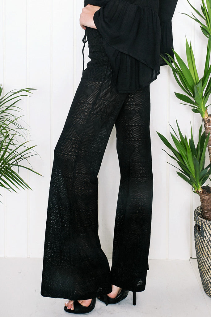 Stacie Bell Bottom Pants - Black