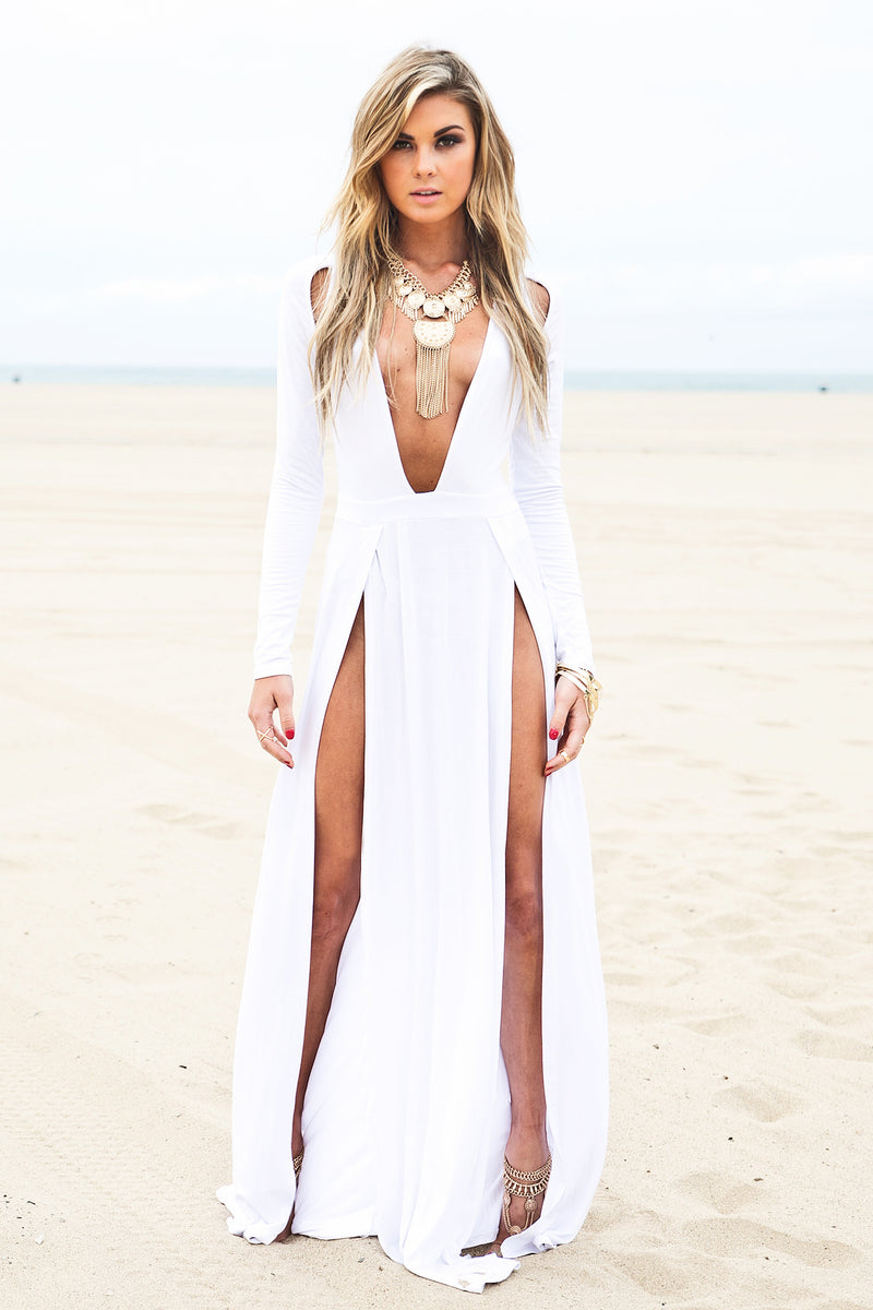 Raya High-Slit Deep-V Maxi Dress - White - Haute & Rebellious