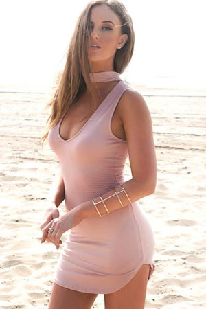 Mini Dress with Choker Detail - Blush