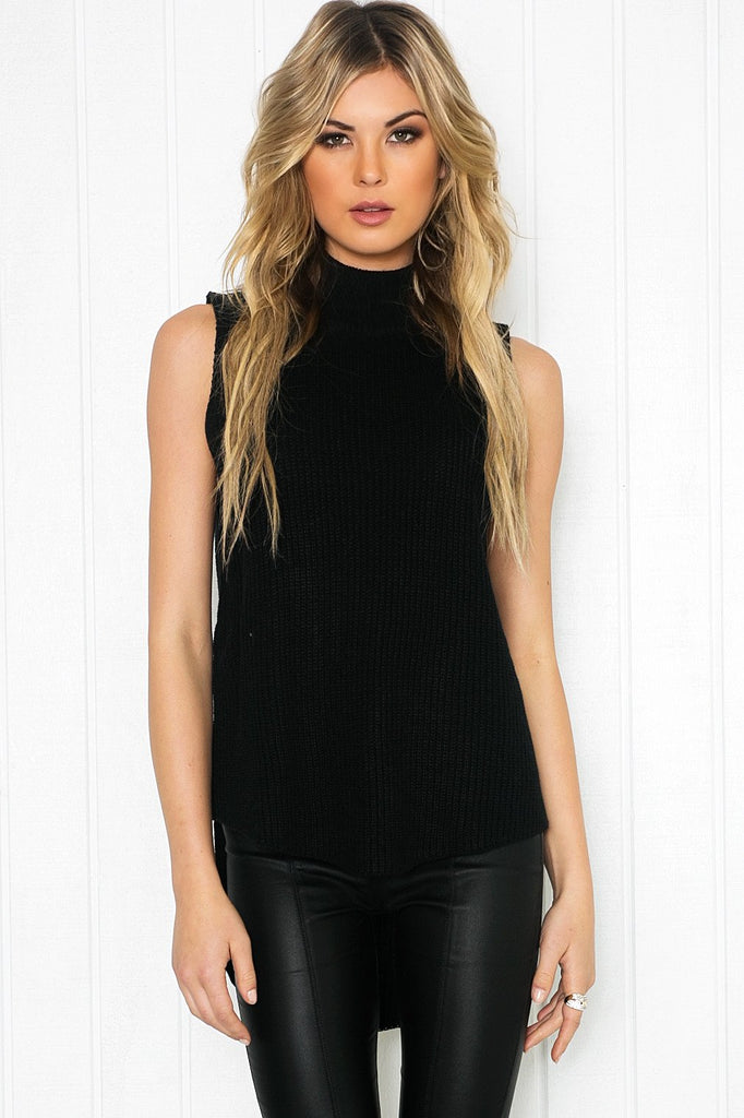 Mauven Knit Sleeveless Top - Black