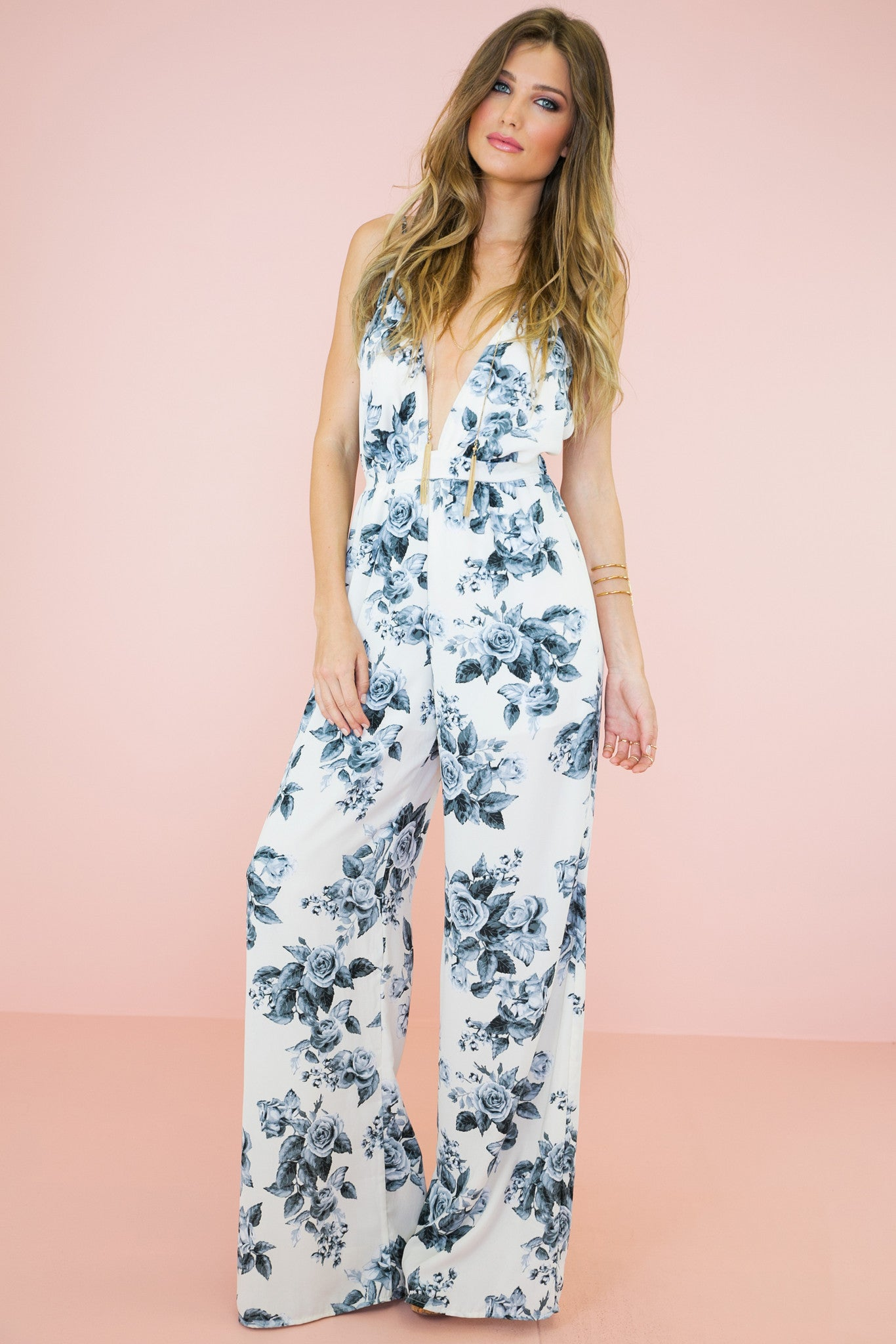 Rose Garden PLunging Jumpsuit /// Only 1-S Left ///