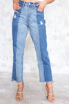 Double Tone Mom High Waisted Denim - Haute & Rebellious