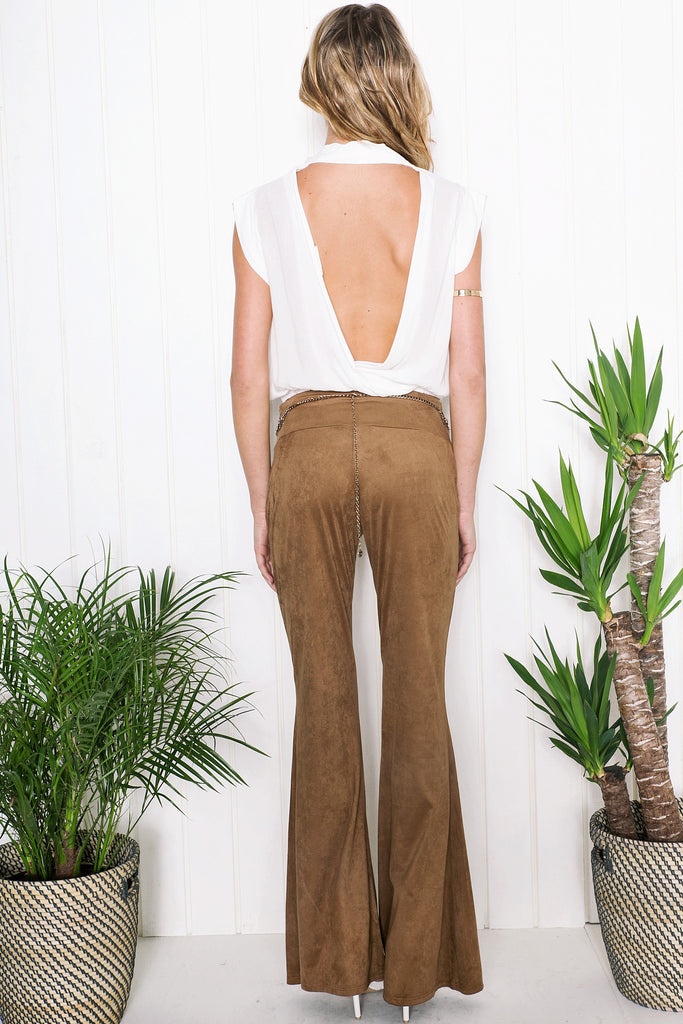 Rand Suede Bell Bottom Pants