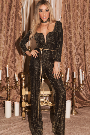 Metallic Queen Long Sleeve Jumpsuit - Haute & Rebellious