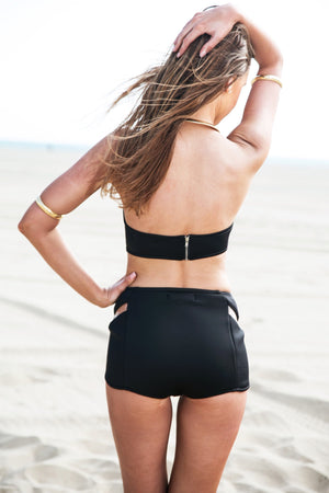 Ellison High-Waisted Scuba Swim Bottom - Black - Haute & Rebellious