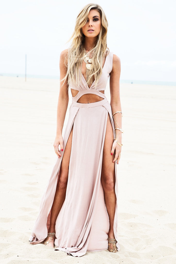 Layla Cutout High-Slit Maxi Dress - Taupe
