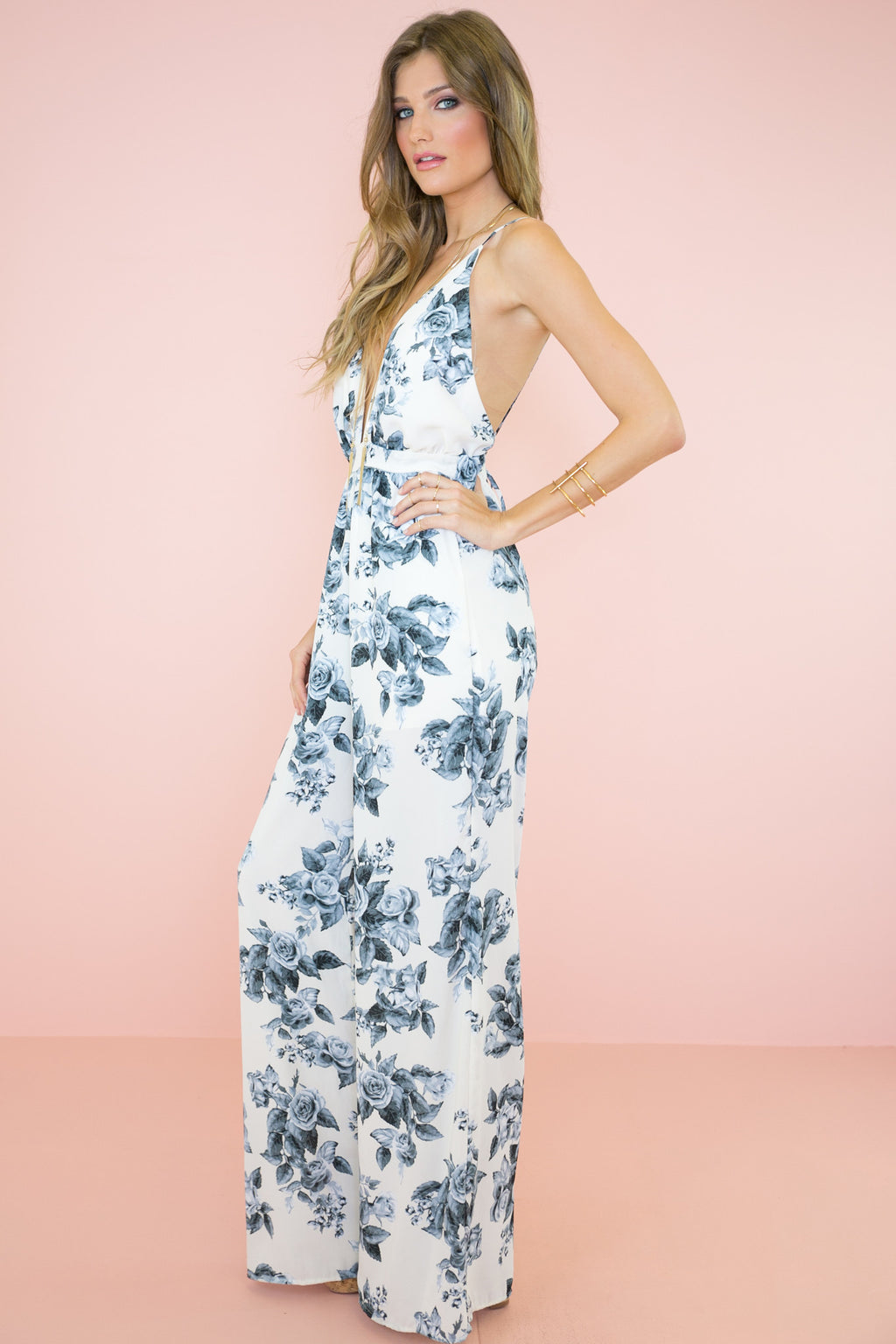 Rose Garden PLunging Jumpsuit - Haute & Rebellious