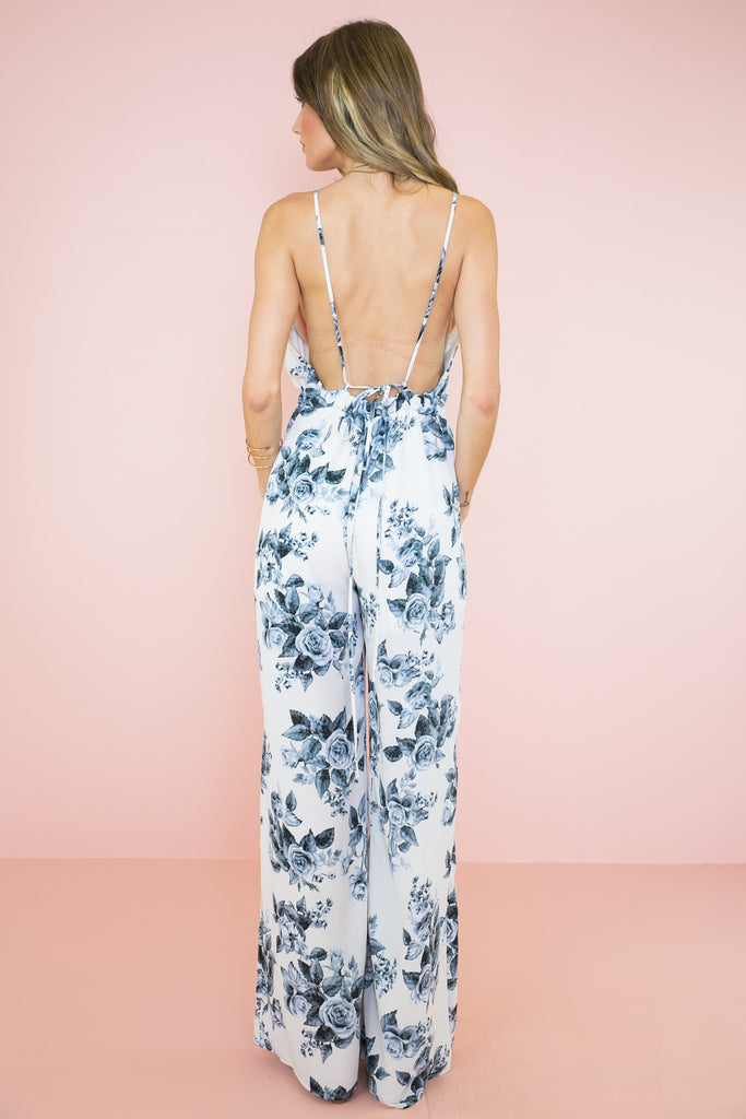 Rose Garden PLunging Jumpsuit