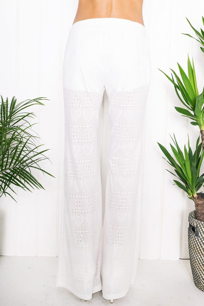 Stacie Bell Bottom Pants - White