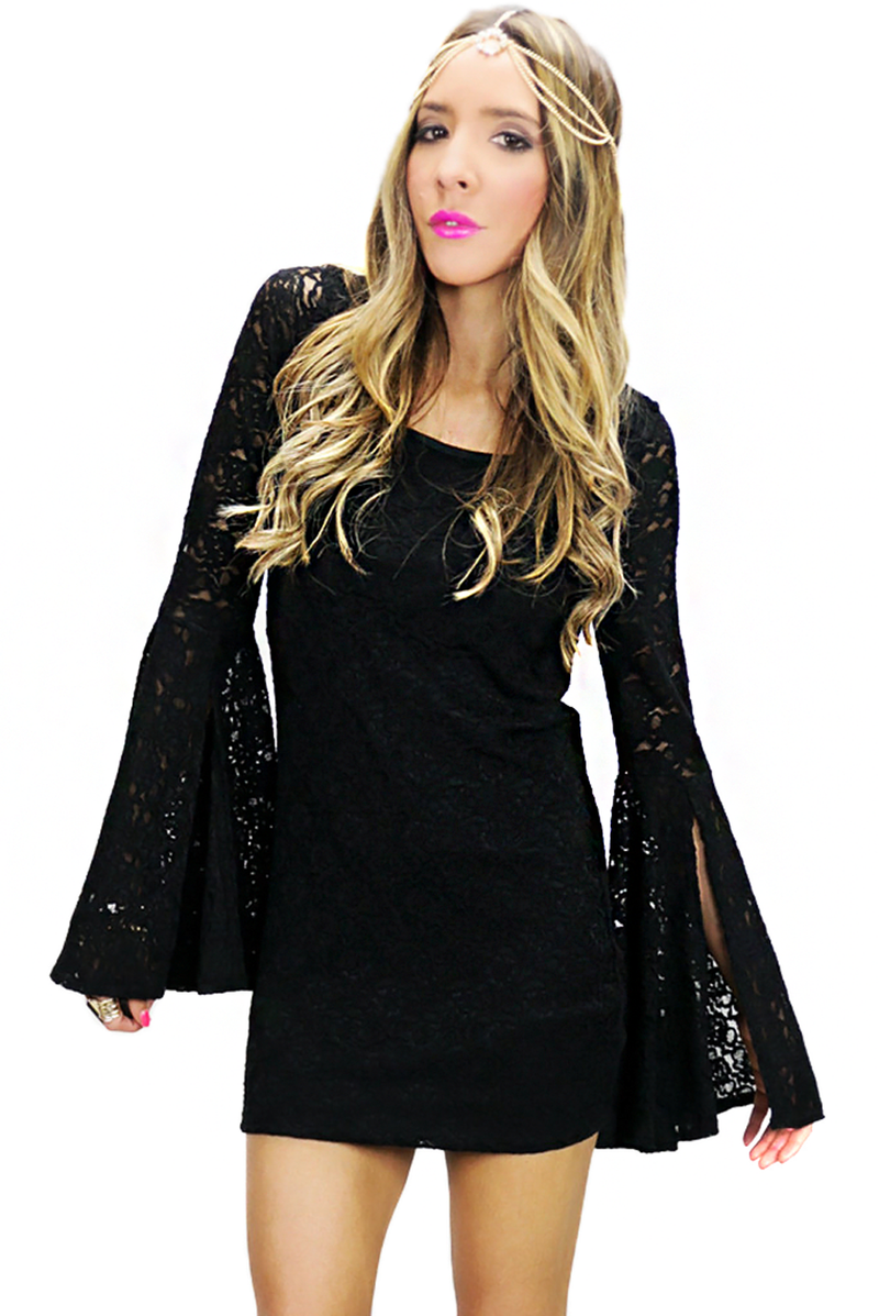 BELL SLEEVE LACE DRESS - Black - Haute & Rebellious