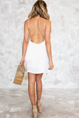 Emma Satin Slip Dress - White - Haute & Rebellious