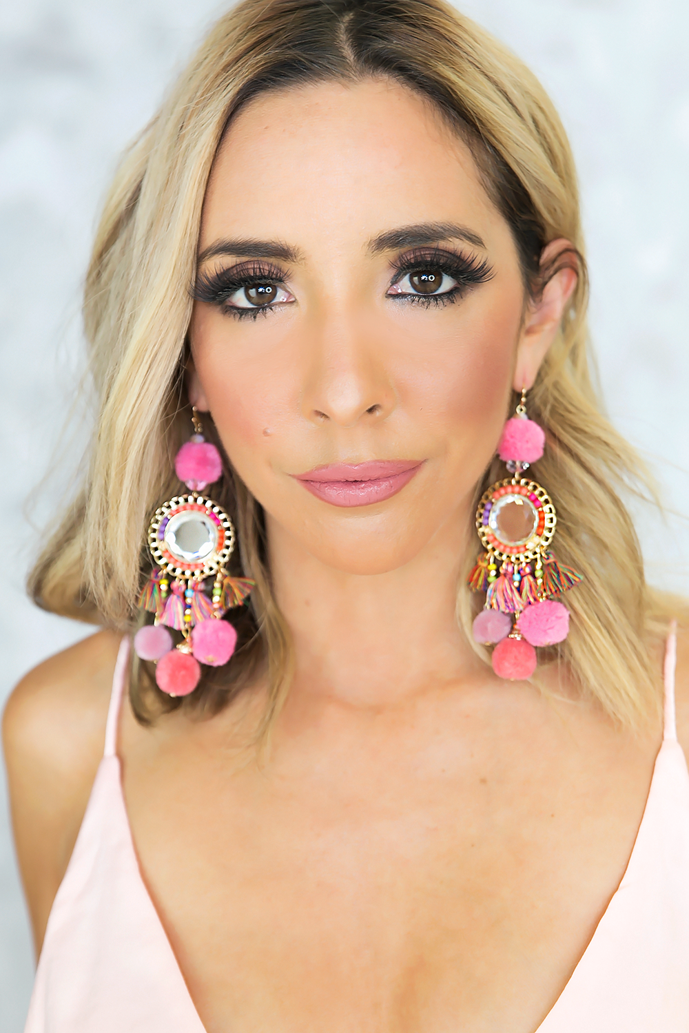 Pom Pom Fiesta Earrings - Fuchsia