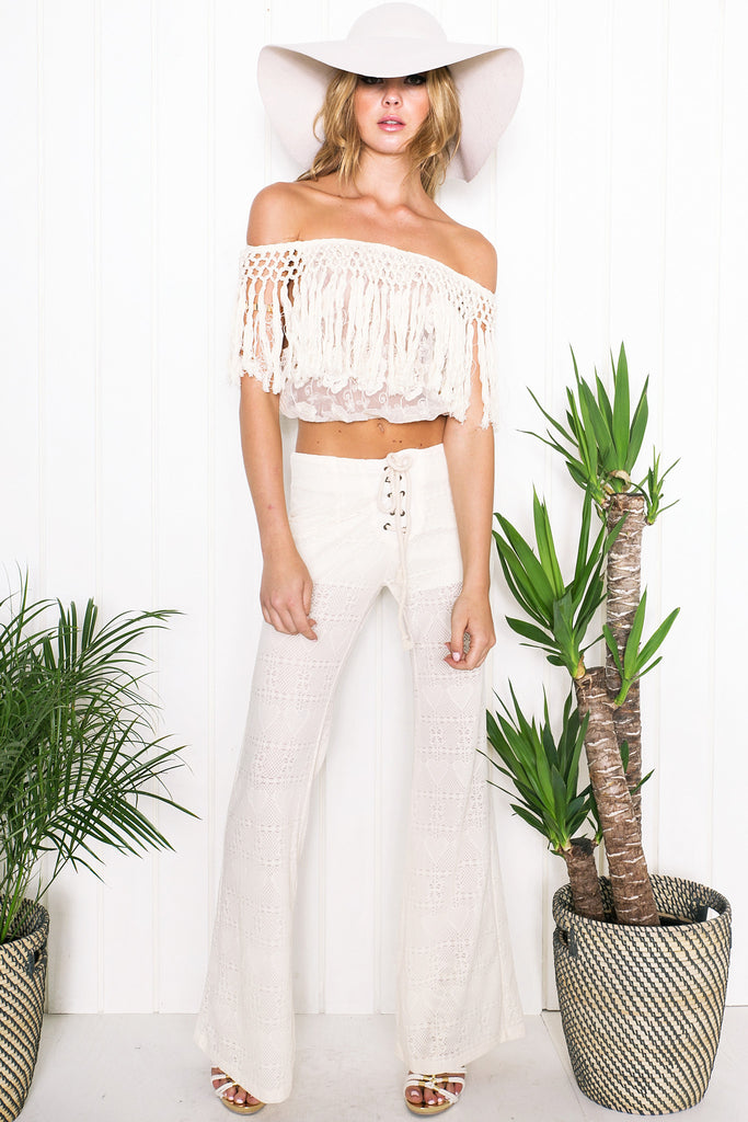 Stacie Bell Bottom Pants - Ivory