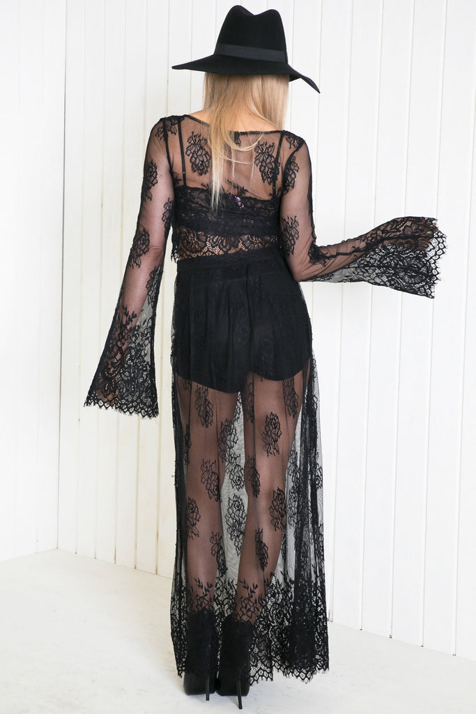 Lahana Lace Maxi Skirt - Black