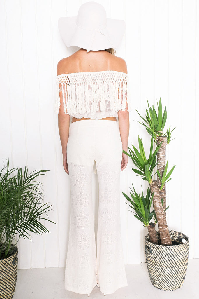 Laurel Lace Fringe Crop Top