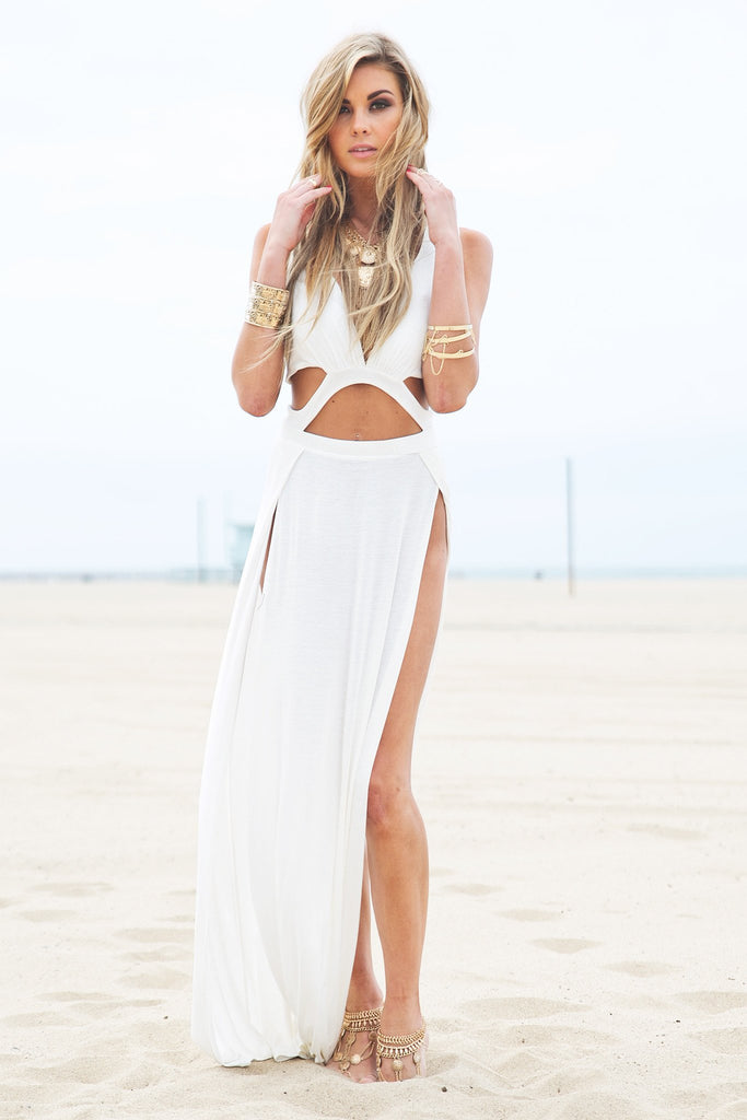 Layla Cutout High-Slit Maxi Dress - White