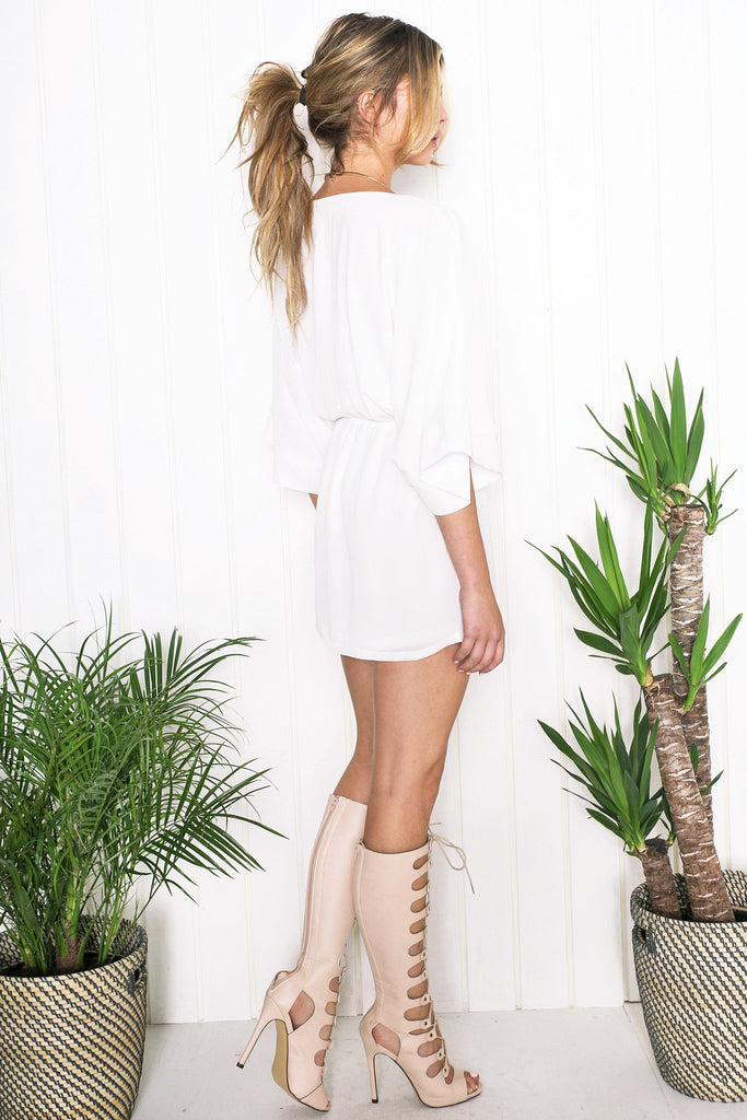 Atley Sheer Bell Sleeve Dress - Ivory