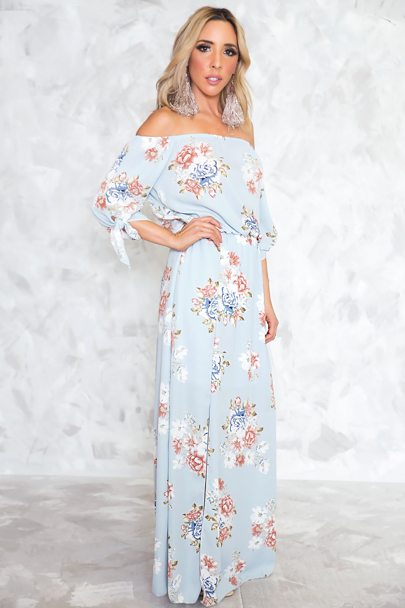 Be Your Love Floral Off Shoulder Maxi - Haute & Rebellious