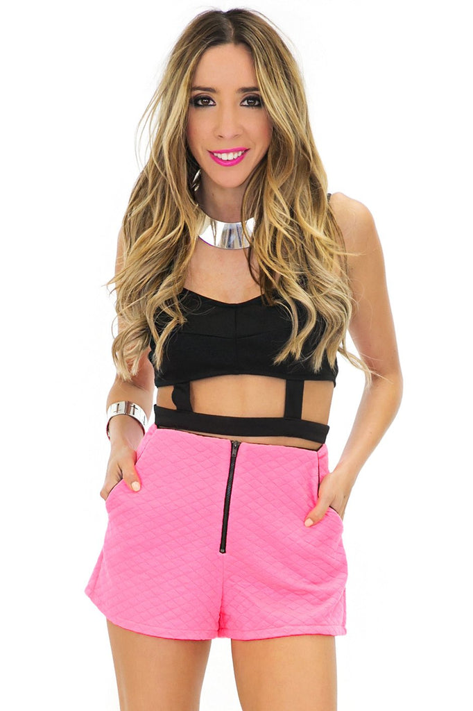 JANETTE NEON QUILTED SHORTS