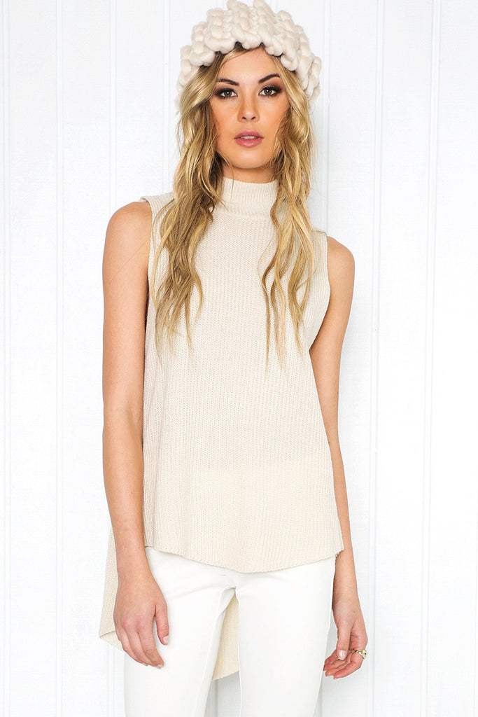 Mauven Knit Sleeveless Top - Stone - Haute & Rebellious