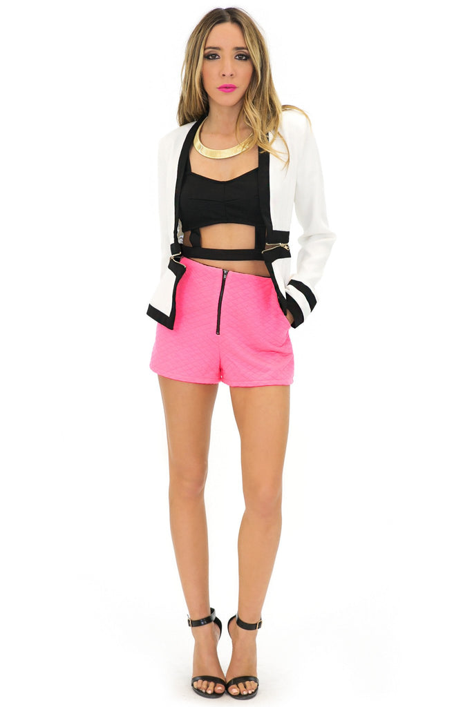 JANETTE NEON QUILTED SHORTS - Haute & Rebellious