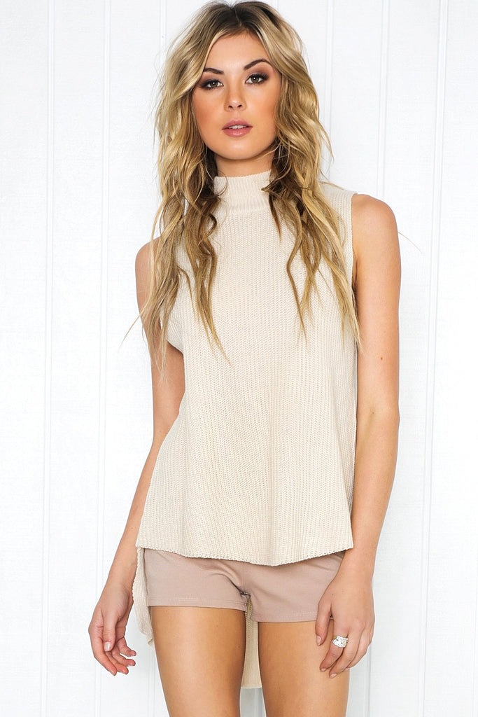 Mauven Knit Sleeveless Top - Stone