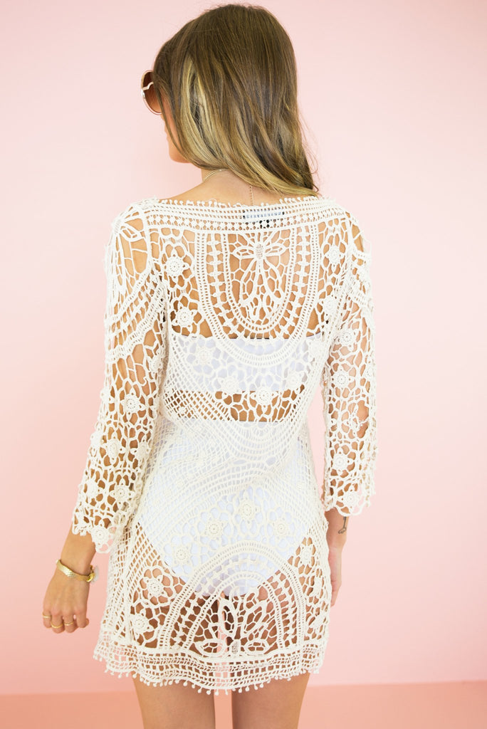 Mahana Crochet Tunic - Cream