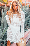 Long Sleeve Lace Cover-Up Dress - White
