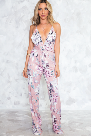 Floral Deep-V Jumpsuit - Blush - Haute & Rebellious
