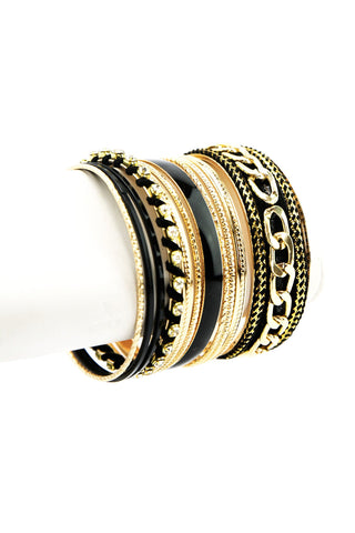 GOLD BUCKLE LEATHER BRACELET - Black