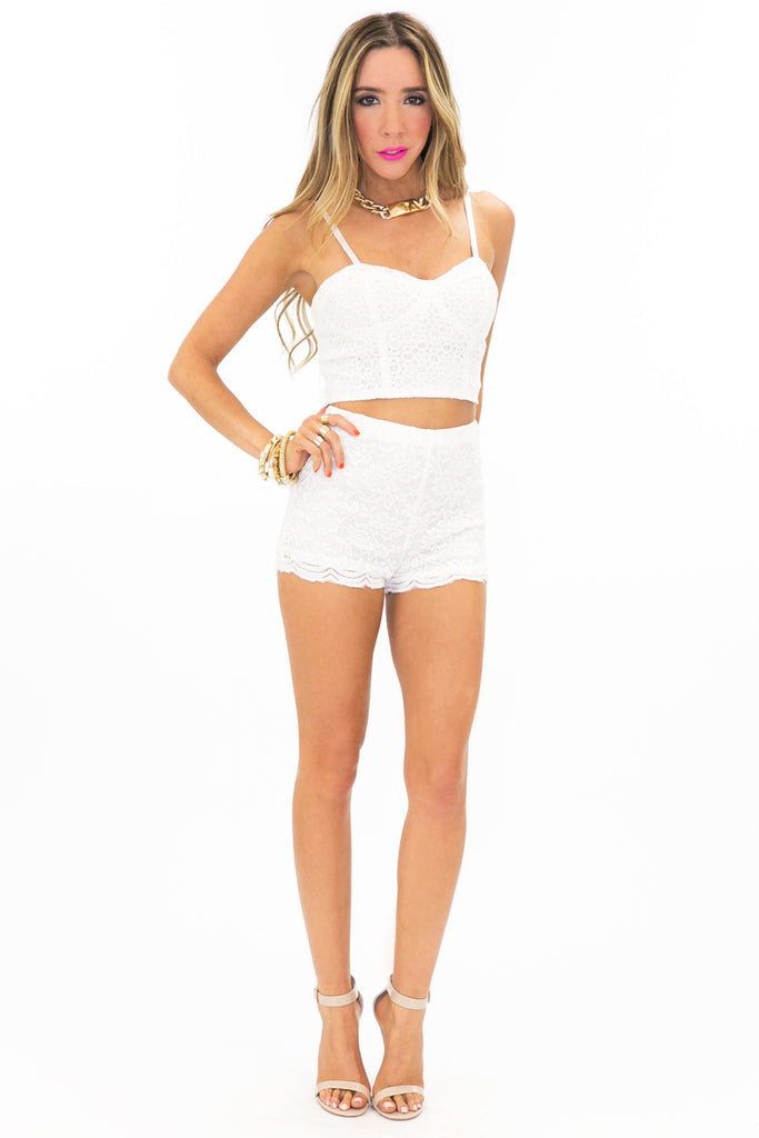STACIE LACE SHORTS - White