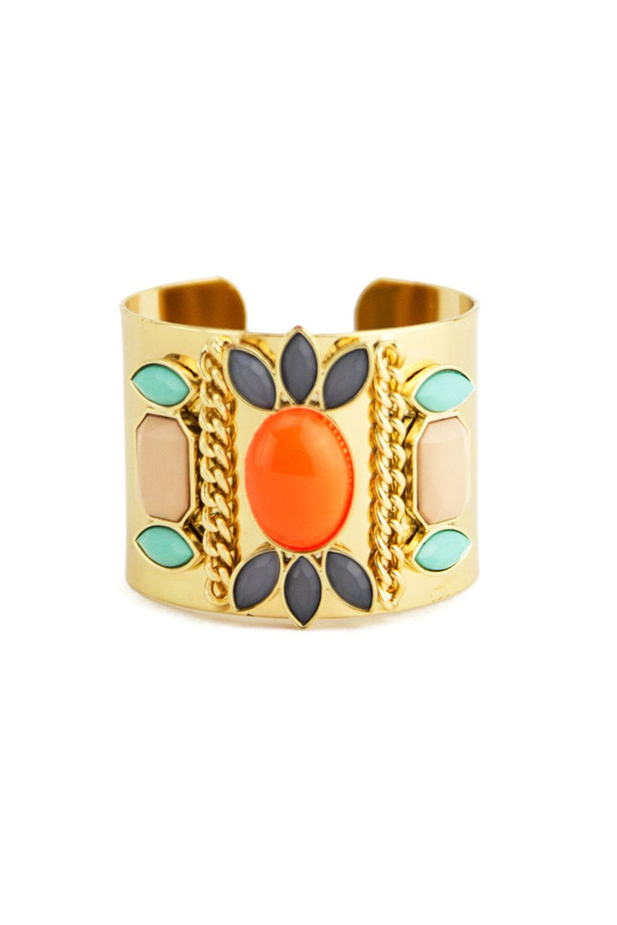 COLORED STONES CUFF - Orange