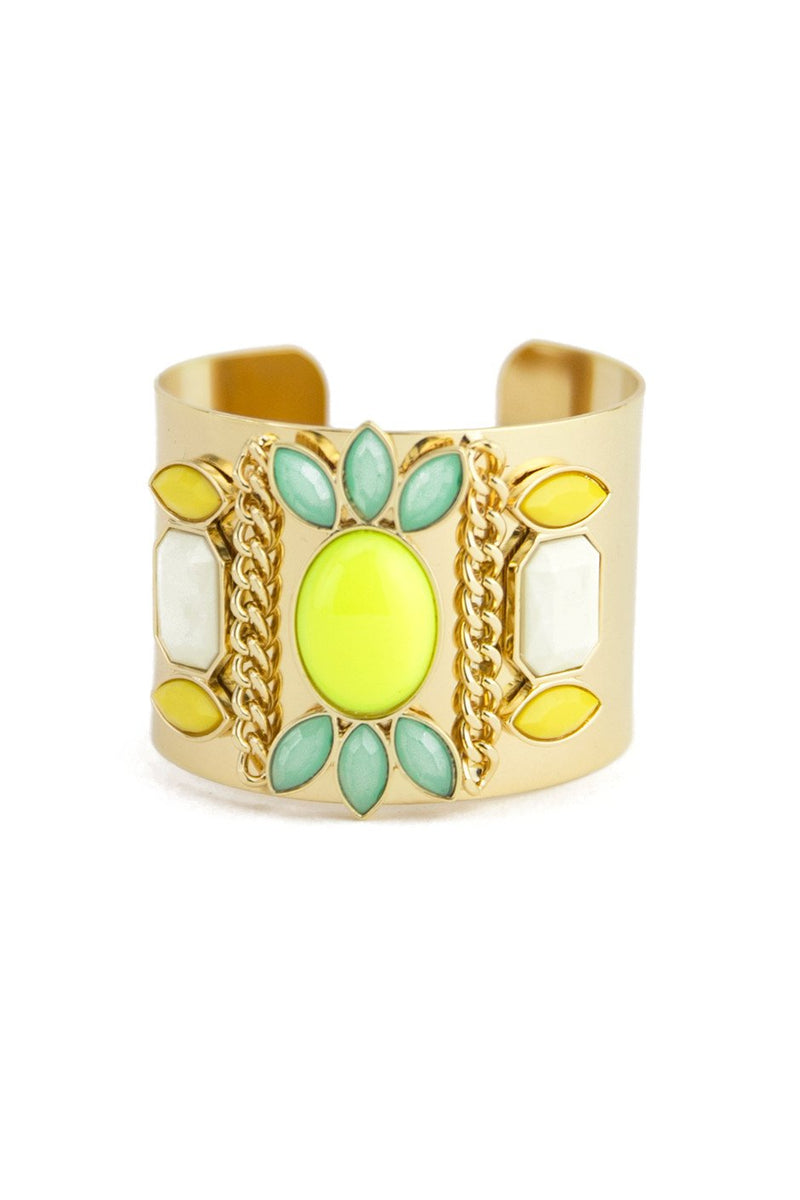 COLORED STONES CUFF - Lime - Haute & Rebellious