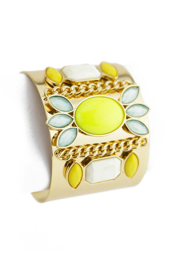 COLORED STONES CUFF - Lime