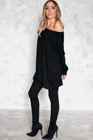 DEEP-V CHIFFON BLOUSE - Black