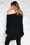 Basic Fitted Long Sleeve Bamboo Tee - Black