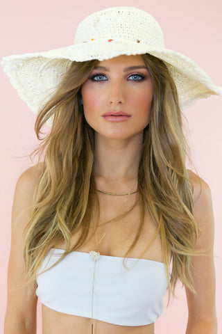 Pom-Pom Floppy Brim Straw Hat - Cream