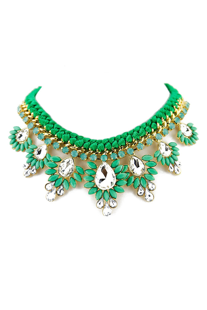COLORED STONE & CRYSTAL NECKLACE - Green