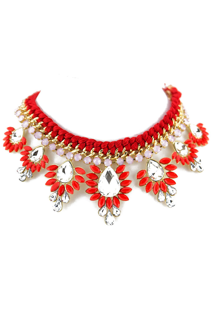 COLORED STONE & CRYSTAL NECKLACE - Red