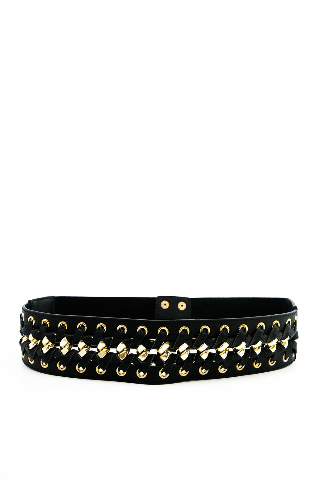 Stitched Gold Lace-Up Leather Belt - Haute & Rebellious