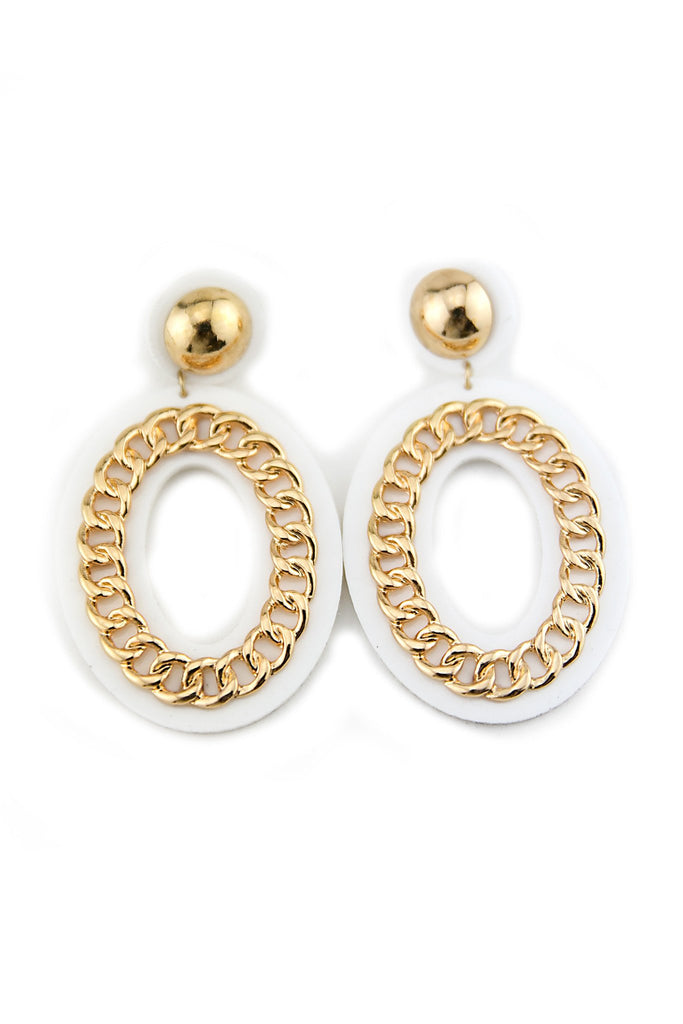 COCO CHAIN DETAIL EARRING - White
