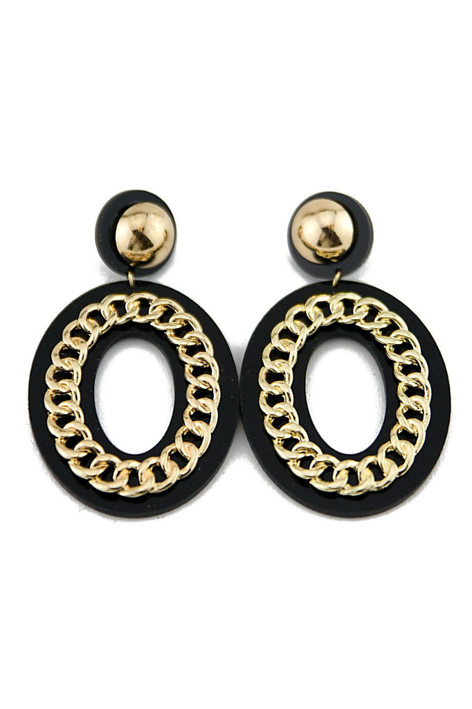 COCO CHAIN DETAIL EARRING - Black