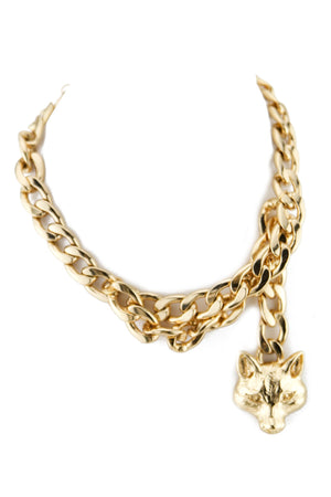 FOX PENDANT HEAVY CHAIN NECKLACE - Haute & Rebellious
