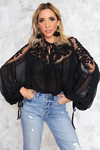 Puff Sleeve Embroidery Blouse - Black - Haute & Rebellious